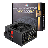 Aerocool Integrator 500W Semi Modular PSU 12cm Black Fan Active PFC - Click below for large images