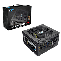 CiT ATV500R PSU 500W 80 Plus Bronze Wired With 12cm Black Fan  - Click below for large images