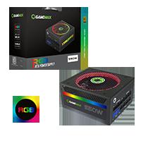 GameMax 550W Modular RGB Gold 80 Plus 14cm RGB Fan & Illuminated Logo - Click below for large images