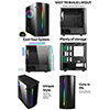 CiT Beam MATX Gaming Case Rainbow RGB Strip 1 x Rainbow RGB fan Acrylic Side - Alternative image