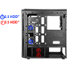 CiT Blaze Gaming Chassis 6 x Single Ring Fan Blue Tempered Glass  - Alternative image