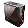 CiT Blaze Mid-Tower Gaming Case With 6 x Single Ring Red Fans Tempered Glass Side Window - Alternative image