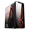 View more info on CiT Blaze Mid-Tower Gaming Case With 6 x Single Ring Red Fans Tempered Glass Side Window...