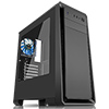 View more info on CiT Dark Soul Black Midi Case With 1 x 12cm Blue 4 LED Rear Fan Side Window Panel...