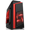 CiT F3 Black Micro-ATX Case With 12cm Red LED Fan & Red Stripe - Alternative image
