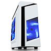 CiT F3 White Micro-ATX Case With 12cm Blue LED Fan & Black Stripe - Alternative image