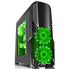 View more info on CiT G Force Black Case 1 x USB3 2 x 12cm Green 15 LED Front Fans...