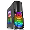 View more info on CiT G Force Black Mid-Tower PC Gaming Case with 2 x RGB Front 1 x Rear Fans & Remote...