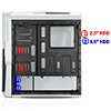 CiT G Force White Case 1 x USB3 2 x 12cm Blue 15 LED Front Fans - Alternative image