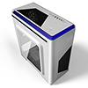 CiT Lightspeed White Case With Inbuilt LED Light System 2x LED Blue Fans USB3 x1 - Alternative image