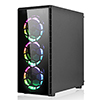 CiT Raider Gaming Case 4 x Halo Spectrum RGB Fans Glass Front and Side MB SYNC - Alternative image