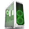 Fierce PC Expanse White Case with 2 x Green 15 Led Front Fans - Alternative image