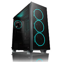 GameMax Crusader Rainbow RGB 3 pin Hub with 4 x Mirage Fans TG Front and Side  - Alternative image