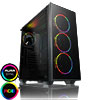 GameMax Crusader Black Mid-Tower Temp Glass Side & Front Rainbow RGB 3 pin hub (no fans) - Alternative image