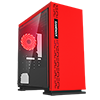 GameMax Expedition Red Gaming Matx PC Case Rear LED Fan & Full Side Window - Alternative image