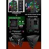 GameMax Vengeance 4x ARGB Fans 3pin Hub RF Remote TG Side Panel - Alternative image