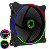 View more info on GameMax Cyclone Dual Ring RGB Fan 4 pin Header 3 Pin Power Black Gloss...