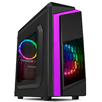 CiT F3 Black Micro-ATX Case With 2 x 12cm Rainbow Single-Ring Fans - Click below for large images