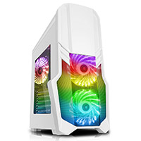 CiT G Force White Mid-Tower  PC Gaming Case with 2 x RGB Front 1 x Rear Fans & Remote - Click below for large images