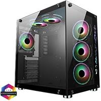 CiT Jupiter Glass Gaming Case 6x ARGB Fans Hub - Click below for large images