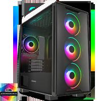 GameMax Commando TG MATX Black 1x Side Window 4 x ARGB 1x ARGB Hub Fan - Click below for large images