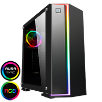 GameMax Starlight RGB Mid-Tower Gaming Case Rainbow Strip and Rear Fan Sync Hub Glass Side Panel - Click below for large images