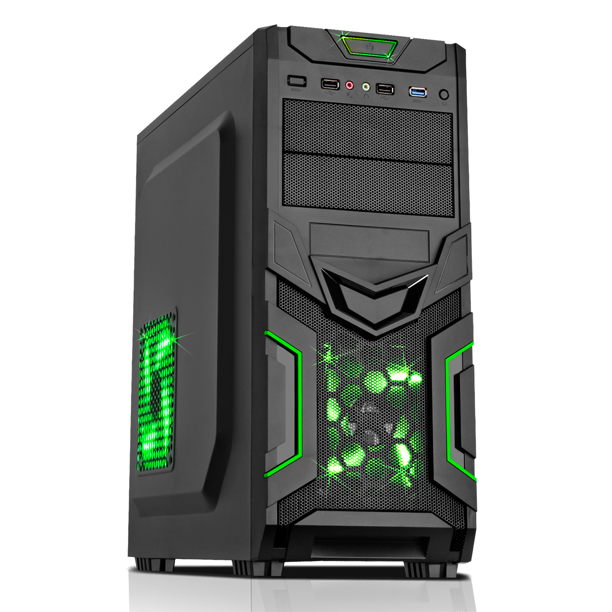 CIT Goblin Mesh Gaming Case Black/Green Interior USB3 12cm Green LED Toolless