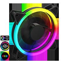 GameMax Velocity 12cm Rainbow ARGB Fan RTB 3pin M&F Aura Header 3pin/4pin Power - Click below for large images