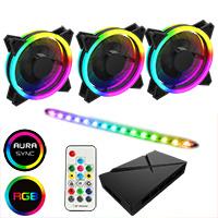 GameMax ARGB Fan Hub + Strip kit 3 x Velocity Fans 1x Viper Strip 1x Hub - Click below for large images