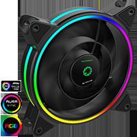 GameMax Razor 12cm Rainbow ARGB Fan RTB 3pin M&F Aura Header 3pin/4pin Power - Click below for large images