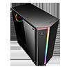 GameMax Starlight RGB Mid-Tower Gaming Case Rainbow Strip and Rear Fan Sync Hub Glass Side Panel - Alternative image