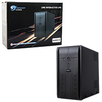 Powercool Smart UPS 1000VA 3 x UK Plug 3 x IEC RJ45 x 2 USB LED Display - Click below for large images
